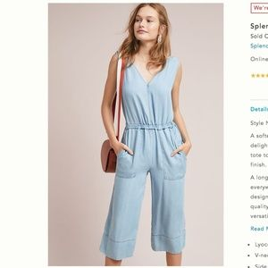 NWT Splendid Cropped Chambray Jumpsuit Size L